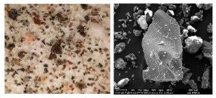 Volcanic ash from an eruption at the summit of Kīlauea on May 17, 2018. Left: This low magnification photo shows ash particles ranging from a few microns to a couple millimeters in diameter. Right: A high-powered scanning electron microscope reveals great detail on this basalt ash shard. Photos courtesy of Pavel Izbekov, UAF-GI AVO.