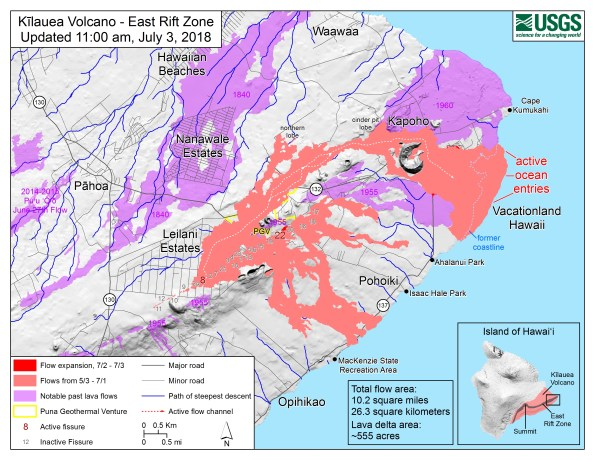 Map as of 11:00 a.m. HST, July 3, 2018. Given the dynamic nature of Kīlauea's lower East Rift Zone eruption, with changing vent locations, fissures starting and stopping, and varying rates of lava effusion, map details shown here are accurate as of the date/time noted. Shaded purple areas indicate lava flows erupted in 1840, 1955, 1960, and 2014-2015.