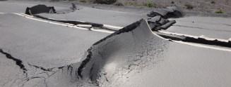 Earthquake damage Crater Rim Drive near Keanakakoi. NPS Photo