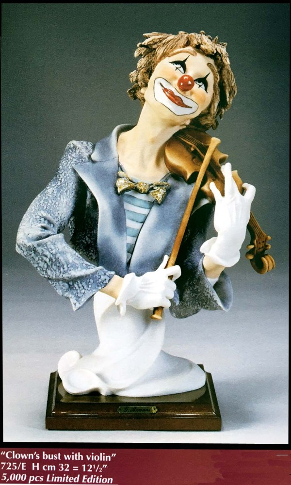 "Giuseppe Armani "" Fiddler Clown"" Figurine #0725e Limited Edition"