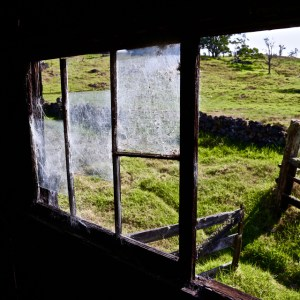 Old windows in abandoned cabin