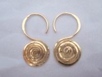 Thick Gauge Gold Spiral Earrings: Hawaii Jewel by Toni Cordas
