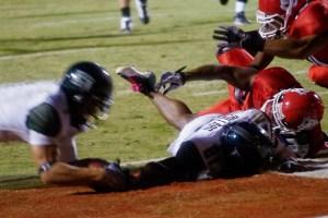 Greg Salas dives on a Royce Pollard fumble for a touchdown.