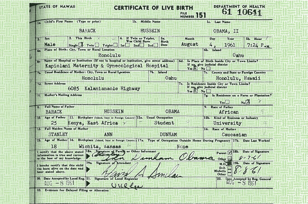 who has a hawaiin birth certificate