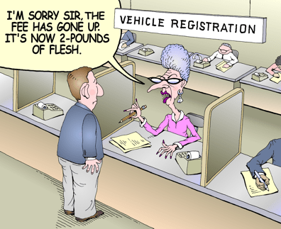 Vehicle registration fees color cartoon