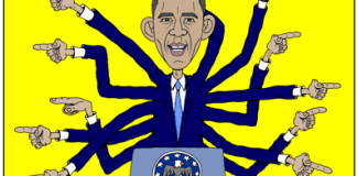 Obama cartoon, the buck stops over there