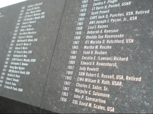 At the Pentagon, there is a memorial to those who died there during the 9-11-2001 terrorist attacks