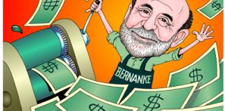 Ben Bernanke has a green job, Fed Chairman Ben Bernanke cartoon