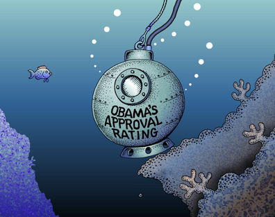 Obama cartoon, Obama's sinking approval ratings, diving bell color cartoon
