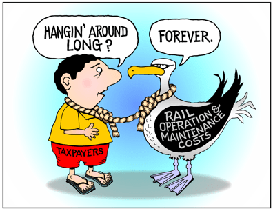 Honolulu Rail Transit cartoon, rail operation and maintenance are forever