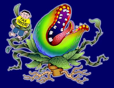 Hawaii's unfunded liabilities monster cartoon, illustration