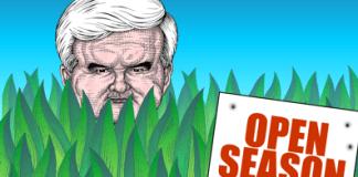 Newt Gingrich cartoon, open season on Newt Gingrich, attack Gingrich, smear Gingrich