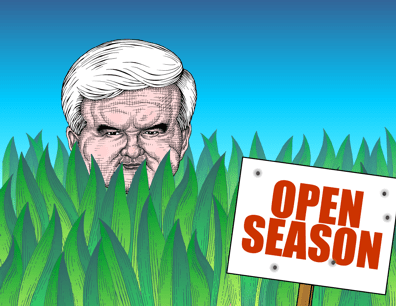 Newt Gingrich cartoon, open season on Newt Gingrich, attack Gingrich, smear Gingrich
