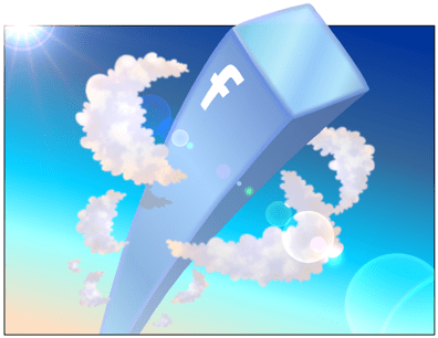 cartoon illustration about facebook, facebook tower