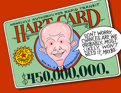 Honolulu Authority for Rapid Transit, HART credit card cartoon, HART CEO Daniel Grabauskas cartoon