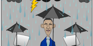 Obama cartoon, Obama's indoor speech, DNS convention