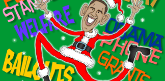Obama is Santa Claus, showering entitlement gifts, government largess