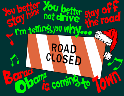 Obama Hawaii Christmas vacation traffic mess cartoon