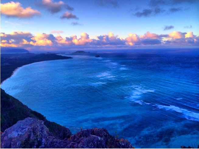 View of Waimanalo and Kailua at sunset from Hawaii mountains