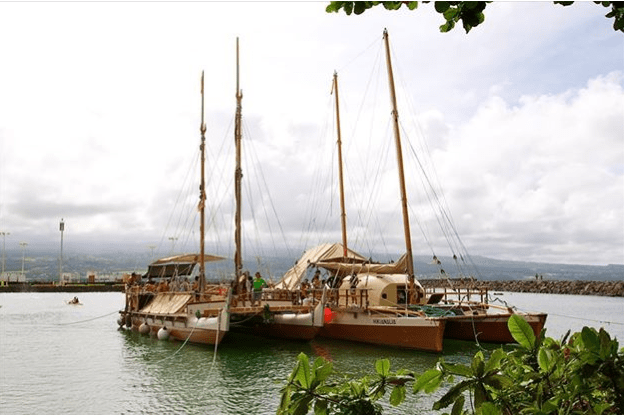 Hokule'a and Hikianalia leaving Hawaii for Tahiti, retracing Hokule'a's historic voyage to Pape'ete in 1976.