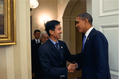L to R: VA Sec. Eric Shinseki, Congressman Mike Honda (D-CA), Djou and President Barack Obama, Oct. 2010.  Use of this photo does not imply endorsement of Djou by Sec. Shinseki, Rep. Honda and/or Pres. Obama.