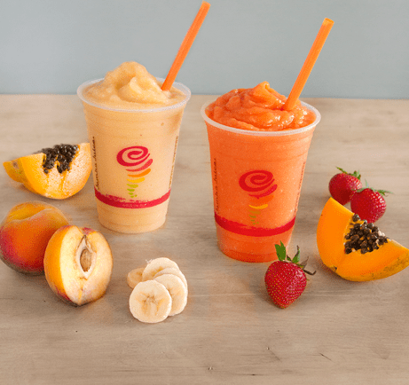 Papaya Paradise (left) and Papaya Sunrise (right) are two new smoothies blending the papaya fruit, available only in Hawaii stores and for a limited time.