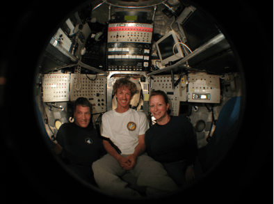 Bigelow Laboratory scientist Beth Orcutt (right) will dive to the seafloor of the Pacific Ocean in the Alvin submersible, which underwent renovation in 2013. Image courtesy of M. Spear, 2007.