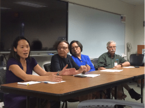 Dr. Sarah Park, state ppidemiologist, briefs the media on the state's Ebola response plan. Beside her are Dr. Linda Rosen, director of the Hawaii Department of Health; Rebecca Sciulli, BT microbiologist and coordinator for the State Laboratory, and Toby Clairmont, director of emergency services for the Healthcare Association of Hawaii.