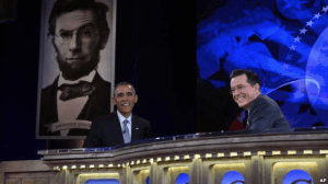 President Barack Obama talks with Stephen Colbert of The Colbert Report during a taping of The Colbert Report program in Lisner Auditorium at George Washington University in Washington, Dec. 8, 2014.