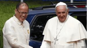 Pope Francis meets with Philippine president Benigno Aquino III, Jan. 16, 2015.