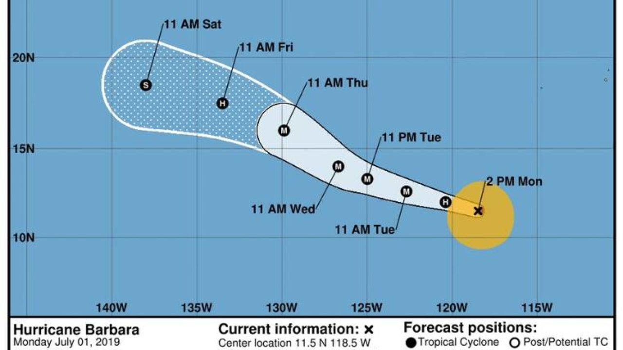 hight resolution of barbara now a hurricane could grow into category 3 storm by wednesday
