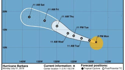 small resolution of barbara now a hurricane could grow into category 3 storm by wednesday