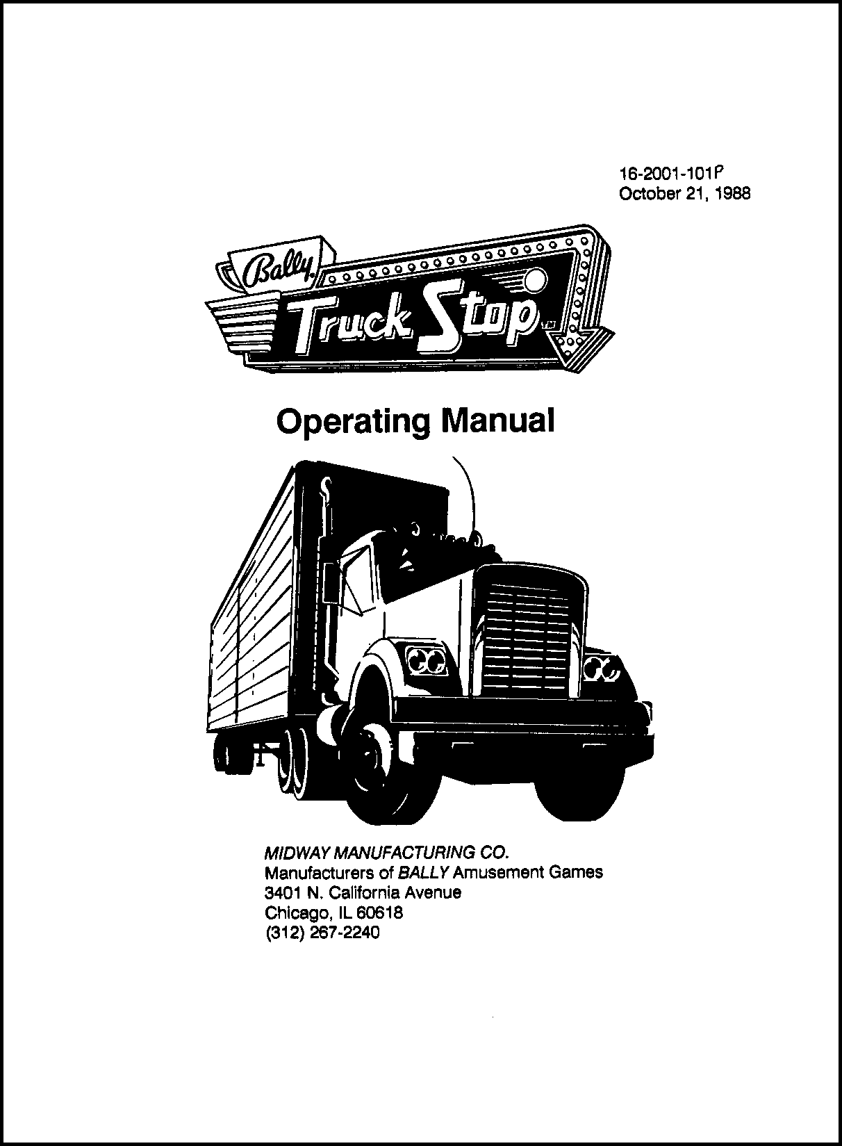 hight resolution of cover of my 1988 manual for truck stop first bally game after williams bought bally