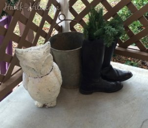 owl, bucket, riding boots on porch