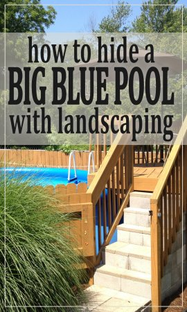 Photos of one homeowner's experience making a cheap blue pool blend in to a serene backyard.
