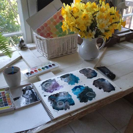 A Cheerful vase of King Alfred type daffoldils in my studio while I watercolor