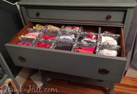 How to Make Durable Drawer Dividers for Pennies: Hawk-Hill.com - Lingere Drawer in Vintage Dresser