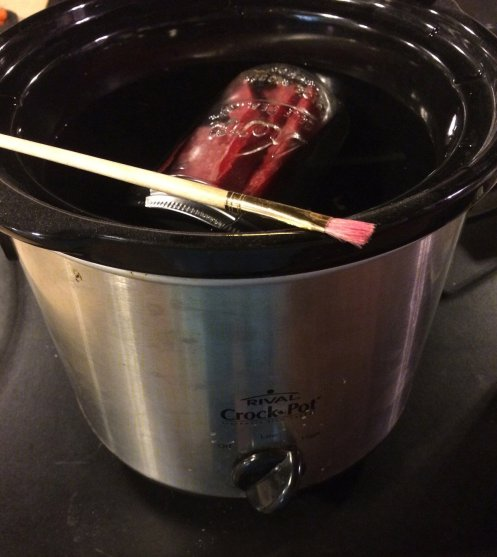 Melting cheese wax for mushroom logs in a crock pot