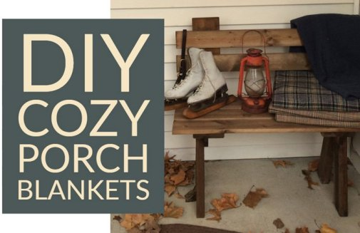A casual pile of homemade faux-wool blankets, ice skates, and other seasonal items make this porch cozy and holiday-appropriate from November through February.