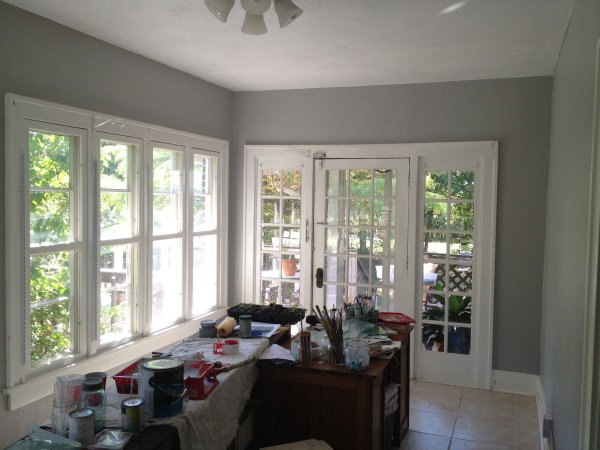 Coventry Grey walls transformed this sunroom