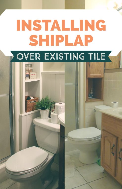 Adding shiplap paneling over existing tile- for a new style with no demolition