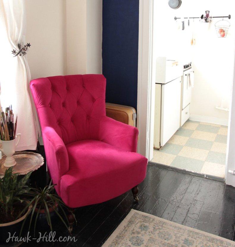 World Market Fuchsia Nina Chair in Studio Apartment in Seattle