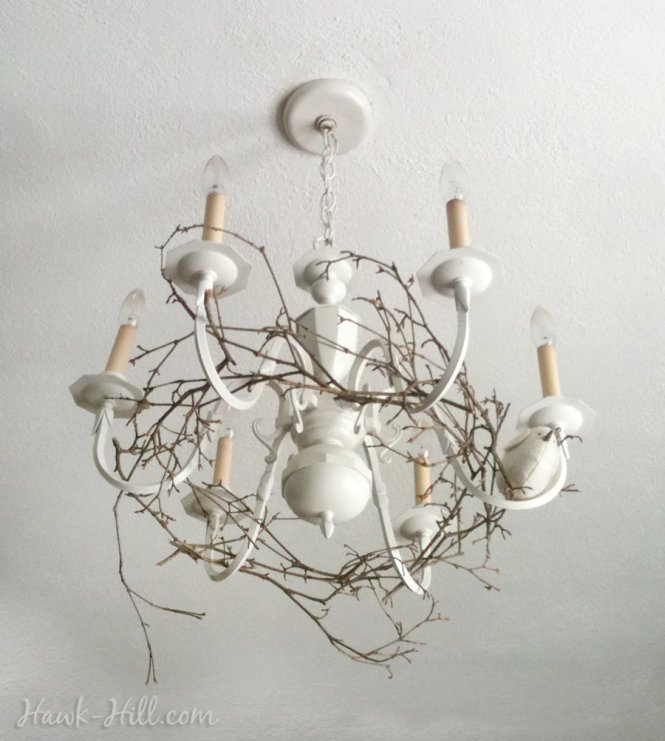 My Woodland Inspired Chandelier Upgrade Featuring A Wreath Of Branches And Tiny Bird