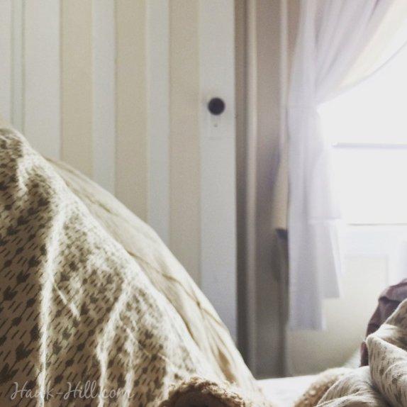 bright studio apartment and linens