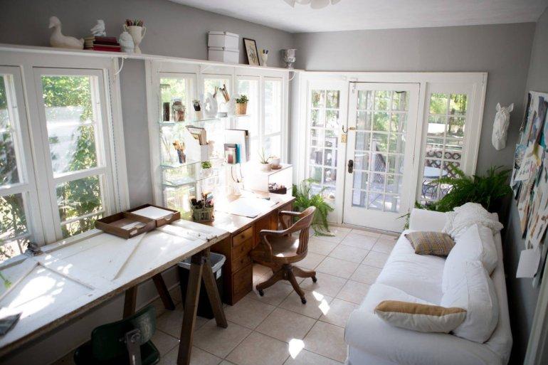 sunny art studio in home