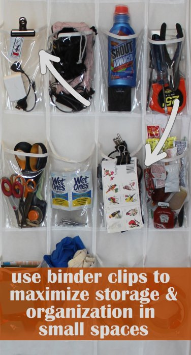 use binder clips to maximize storage in shoe organizers