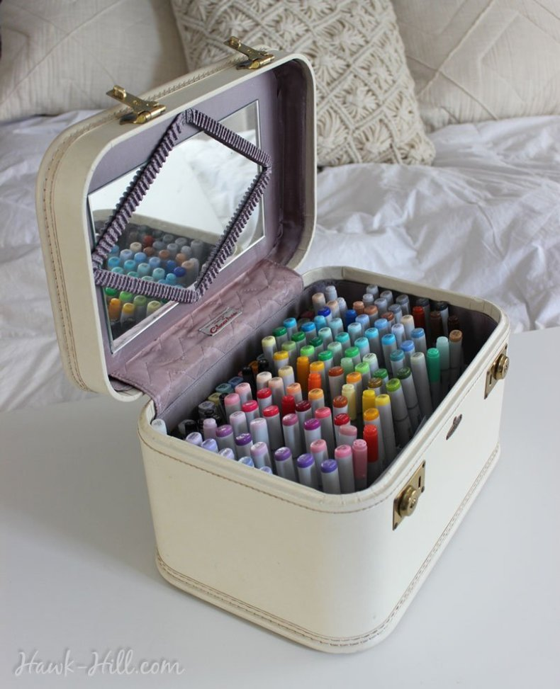 Idea: Store Copics arranged by color in a vintage costmetic case