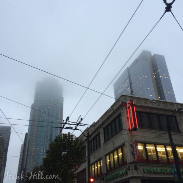 seattle skyskrapers downtown hidden in a rainy fog