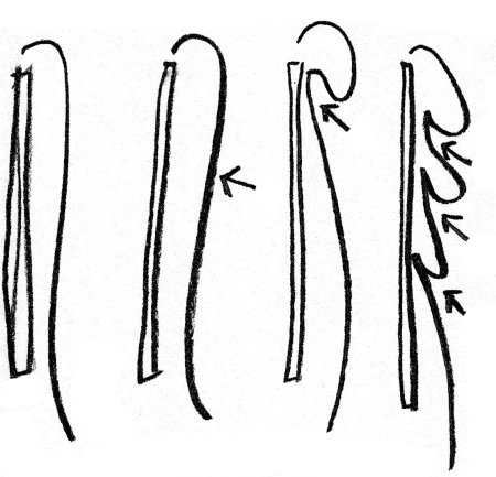 Punch, lift, and tuck, placing staples where the arrows are, to create opulent layers of curtains.