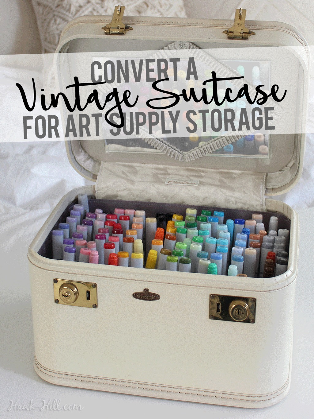 how to convert a vintage cosmetic suitcase into an organized art supply storage hawk hill. Black Bedroom Furniture Sets. Home Design Ideas